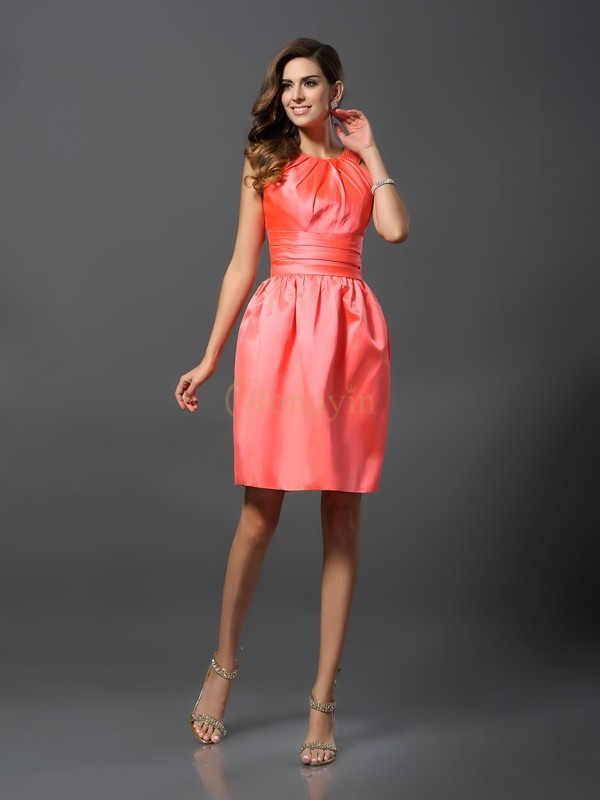 Watermelon Satin Bateau A-Line/Princess Knee-Length Bridesmaid Dresses