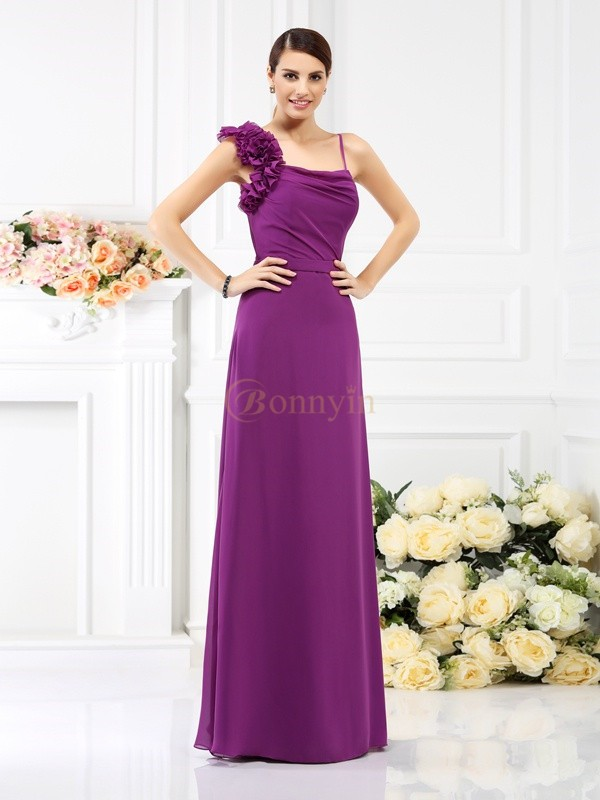 Fuchsia Chiffon Spaghetti Straps Sheath/Column Floor-Length Bridesmaid Dresses
