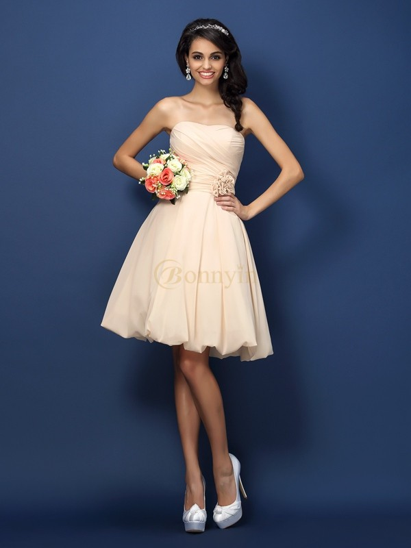 Champagne Chiffon Strapless A-Line/Princess Knee-Length Bridesmaid Dresses