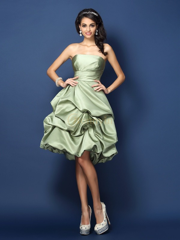 Green Satin Strapless A-Line/Princess Knee-Length Bridesmaid Dresses