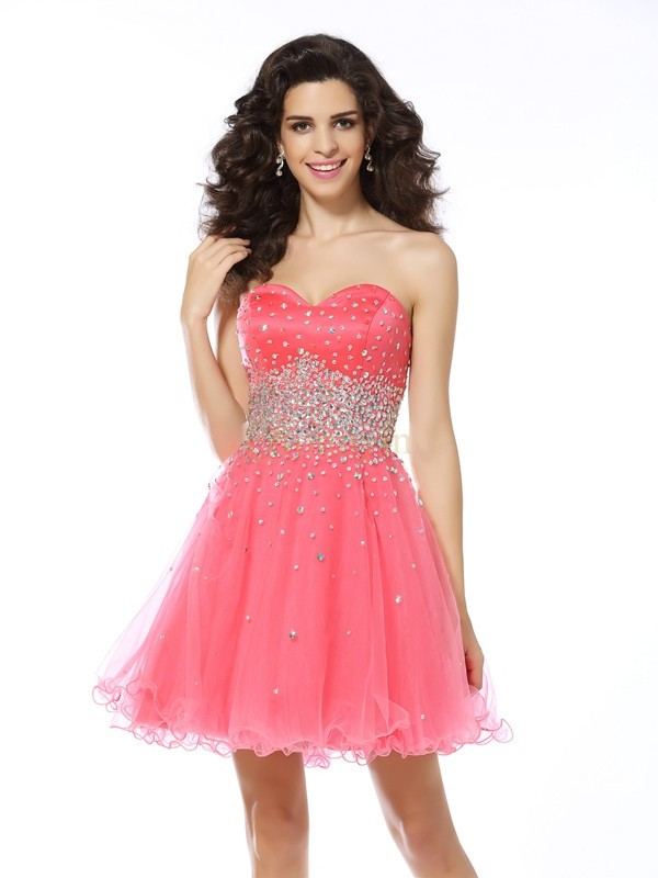 Pink Organza Sweetheart A-Line/Princess Short/Mini Dresses