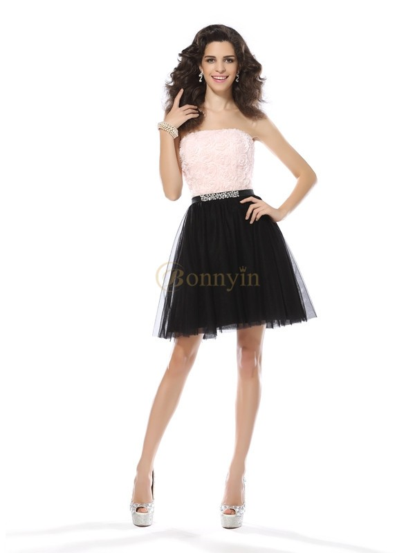 Black Tulle Strapless A-Line/Princess Short/Mini Dresses