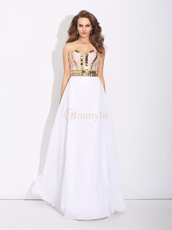 White Chiffon Sweetheart A-Line/Princess Floor-Length Prom Dresses