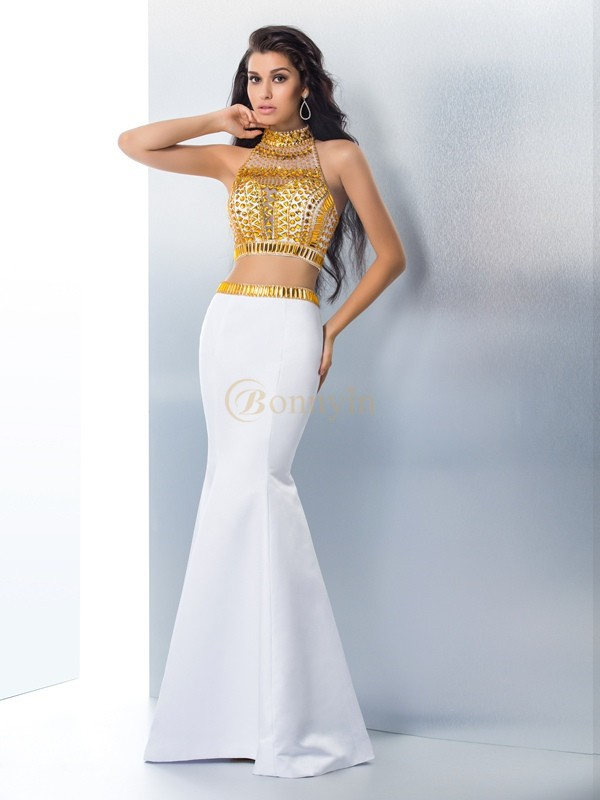 White Satin High Neck Trumpet/Mermaid Floor-Length Prom Dresses
