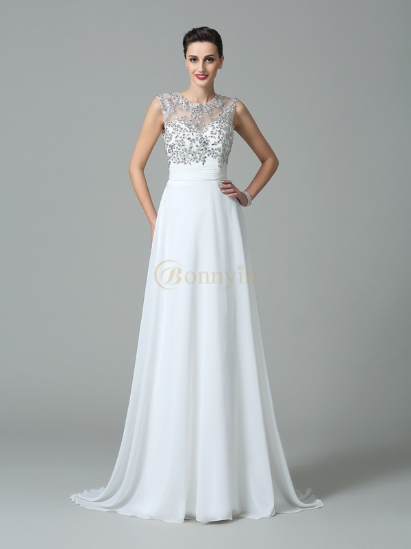White Chiffon Jewel A-Line/Princess Sweep/Brush Train Prom Dresses
