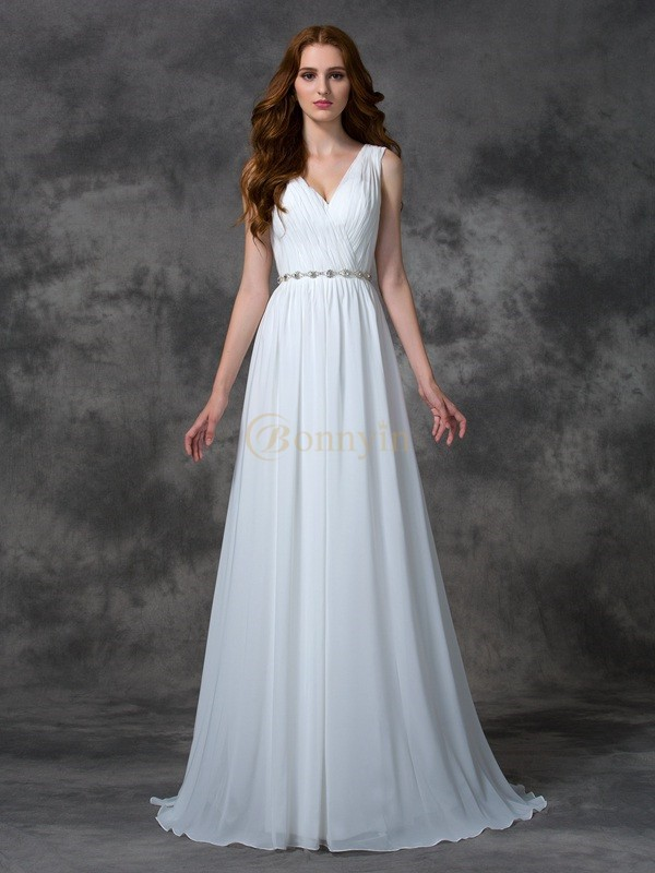 White Chiffon V-neck A-line/Princess Sweep/Brush Train Prom Dresses