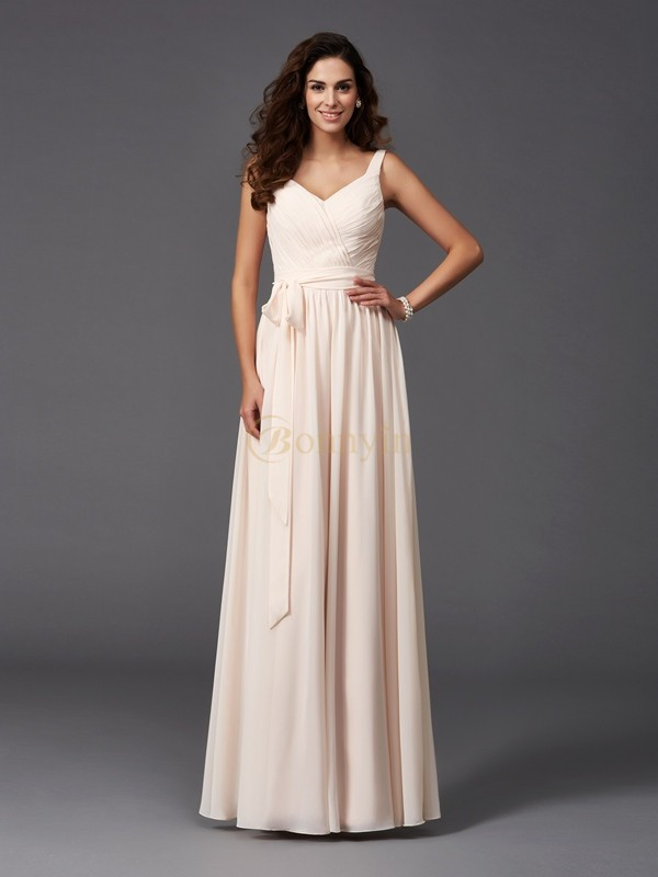 Pearl Pink Chiffon Straps A-Line/Princess Floor-Length Bridesmaid Dresses