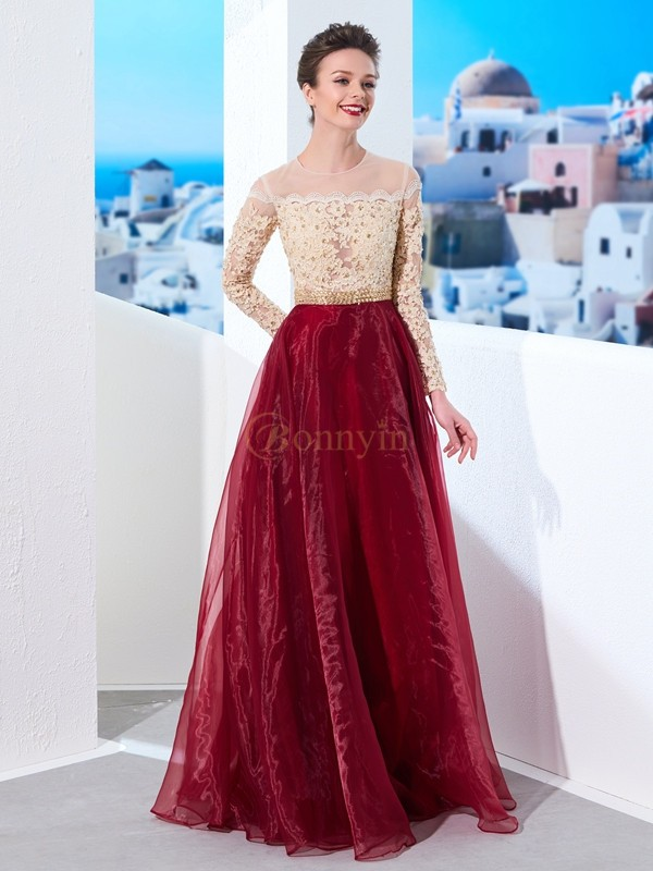 Burgundy Organza Sheer Neck A-Line/Princess Floor-Length Dresses