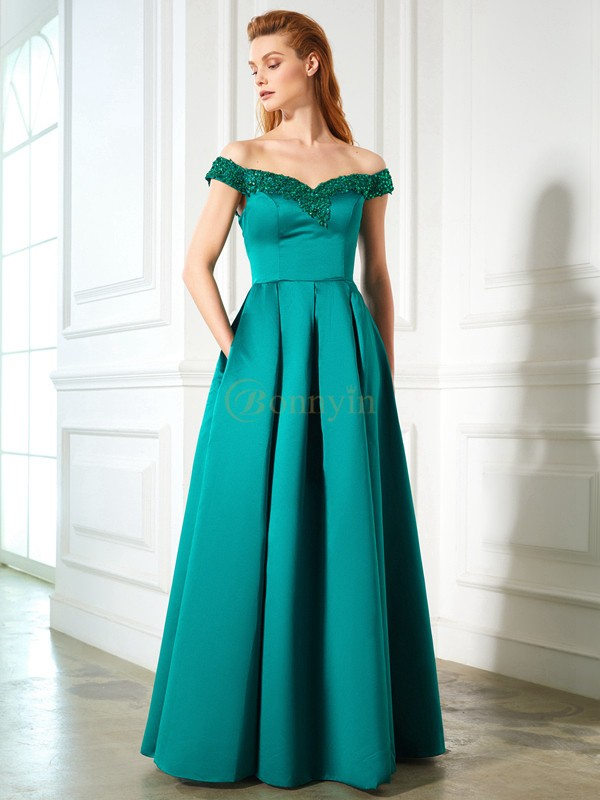 Green Satin Off-the-Shoulder A-Line/Princess Floor-Length Prom Dresses