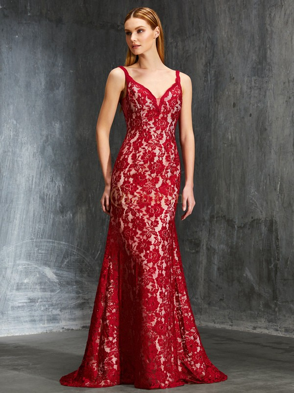 Red Lace Spaghetti Straps Sheath/Column Sweep/Brush Train Prom Dresses
