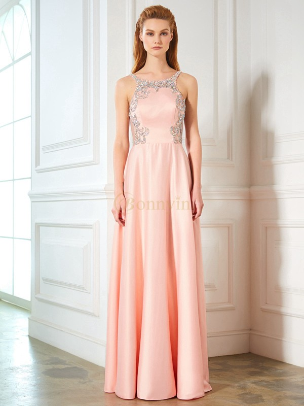 Pink Satin Scoop A-Line/Princess Floor-Length Prom Dresses