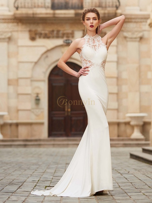 Ivory Spandex High Neck Trumpet/Mermaid Sweep/Brush Train Dresses