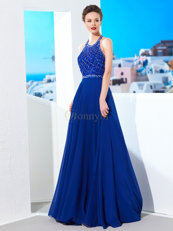 Royal Blue Chiffon Jewel A-Line/Princess Sweep/Brush Train Prom Dresses