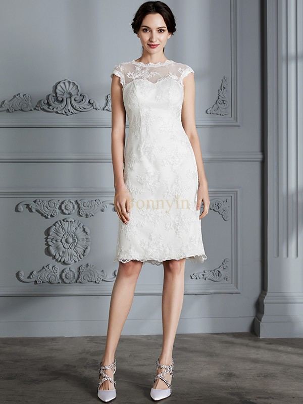 Ivory Satin Scoop A-Line/Princess Knee-Length Wedding Dresses