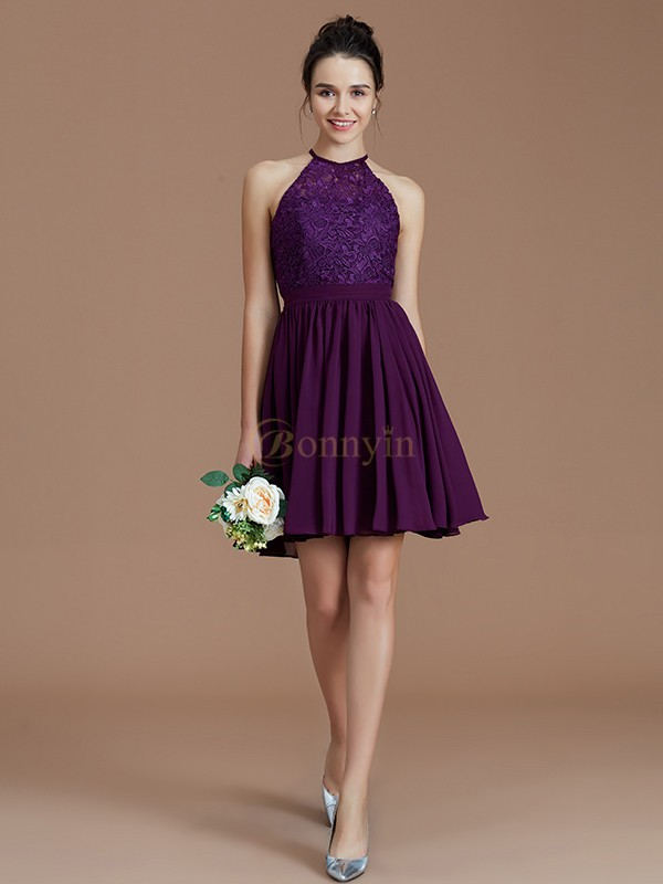 Grape Chiffon Halter A-Line/Princess Short/Mini Bridesmaid Dresses