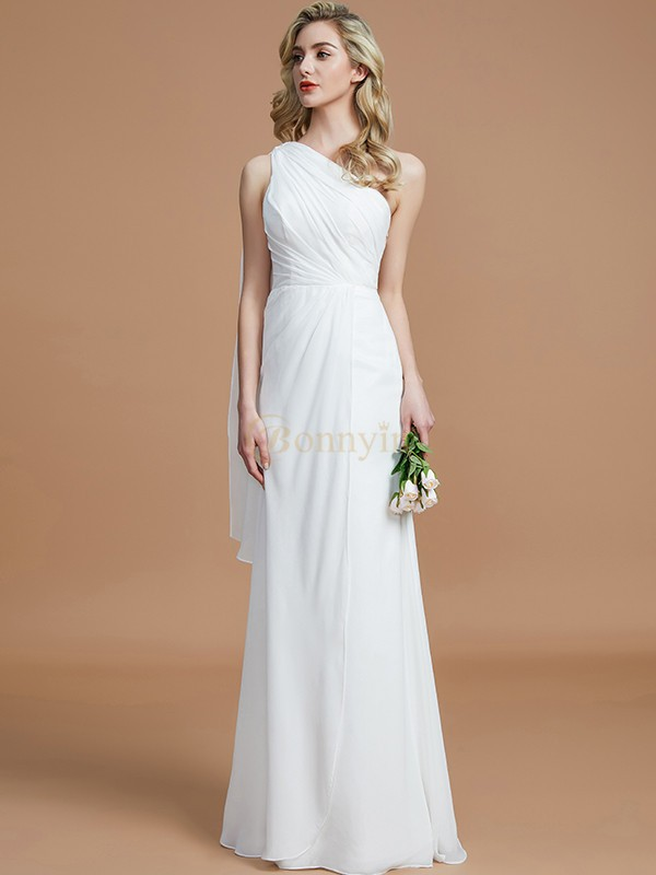 Ivory Chiffon One-Shoulder Sheath/Column Floor-Length Bridesmaid Dresses