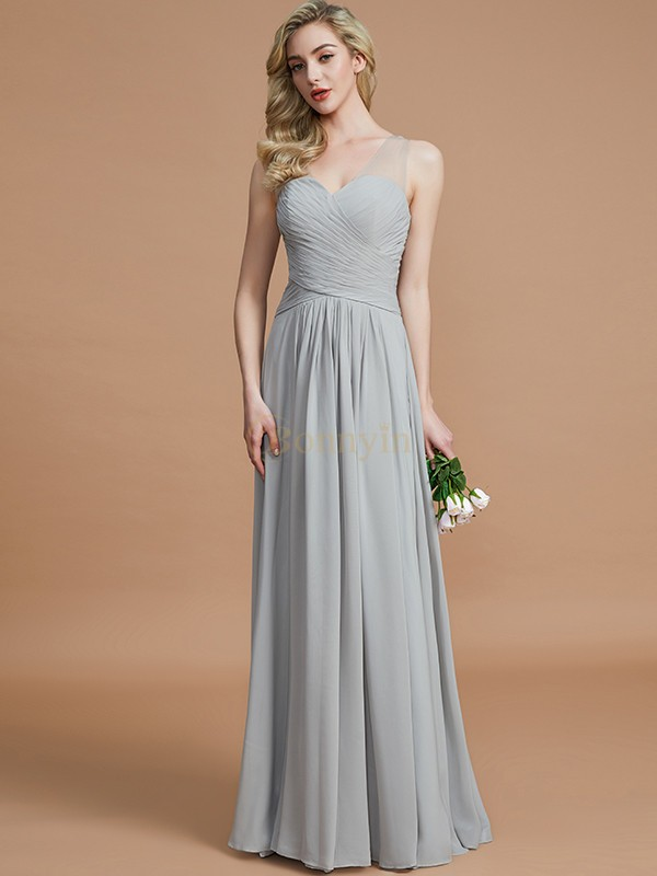 Silver Chiffon V-neck A-Line/Princess Floor-Length Bridesmaid Dresses