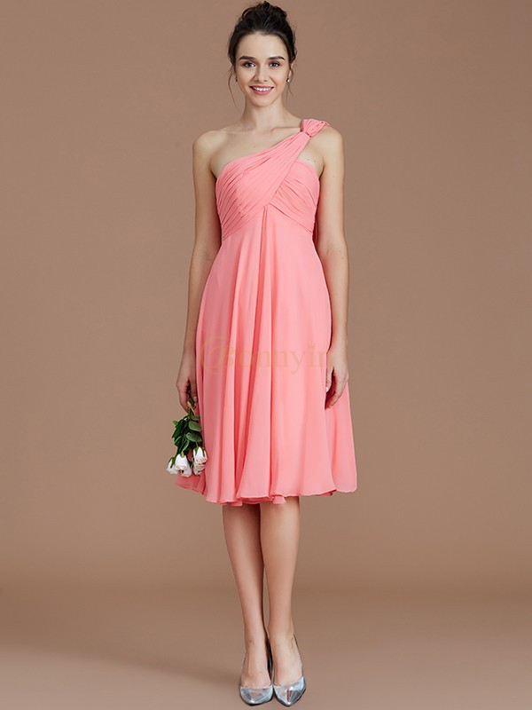 Watermelon Chiffon One-Shoulder A-Line/Princess Short/Mini Bridesmaid Dresses