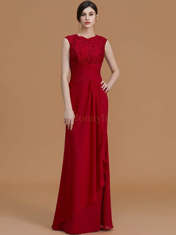 Burgundy Chiffon Jewel Sheath/Column Floor-Length Bridesmaid Dresses