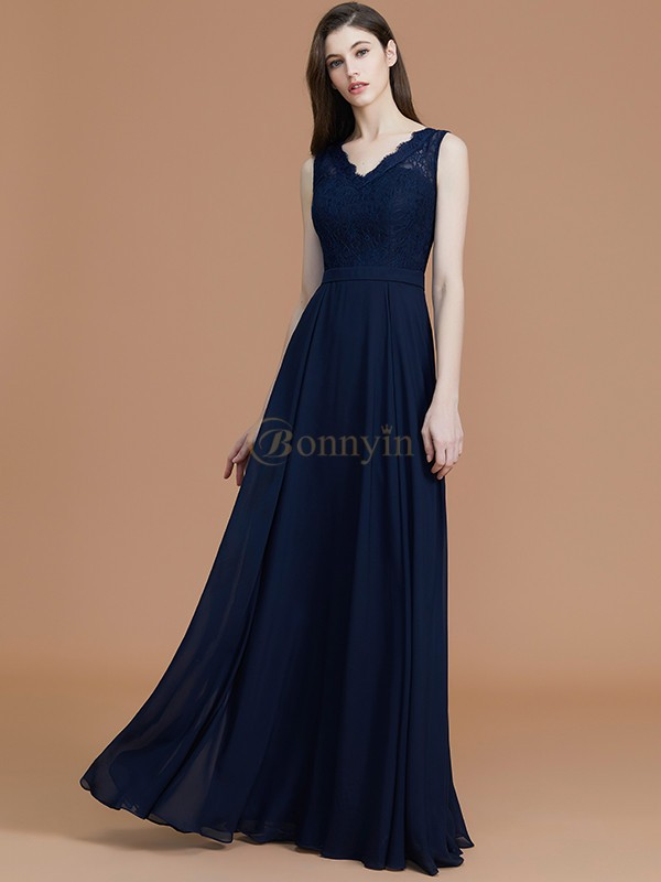Dark Navy Chiffon V-neck A-Line/Princess Floor-Length Bridesmaid Dresses