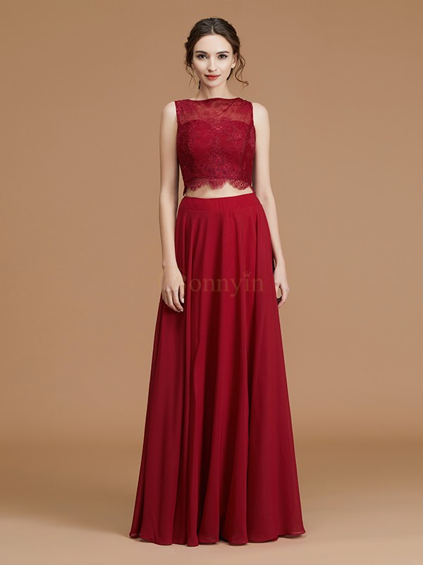 Burgundy Chiffon Bateau A-Line/Princess Floor-Length Bridesmaid Dresses