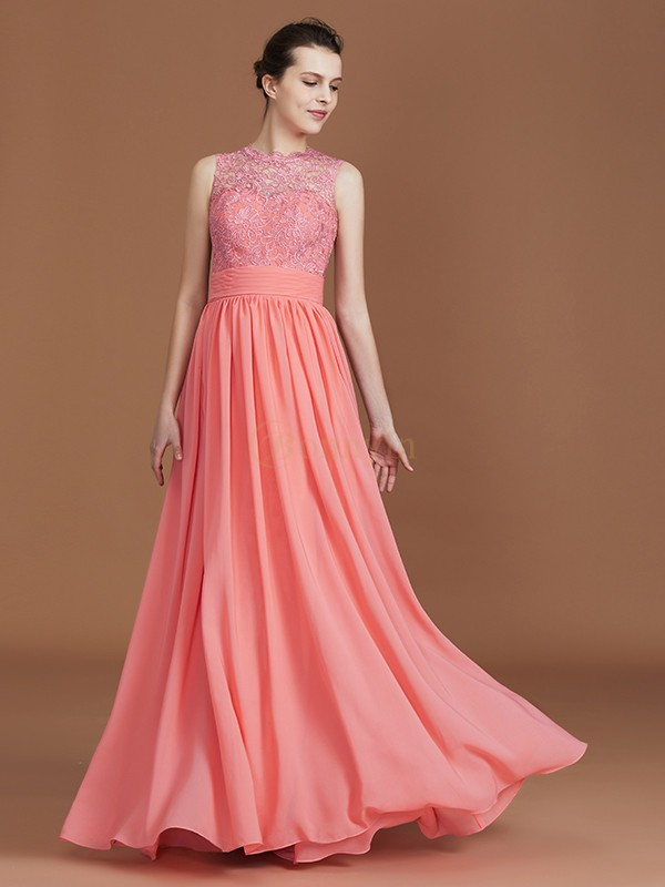 Watermelon Chiffon Jewel A-Line/Princess Floor-Length Bridesmaid Dresses