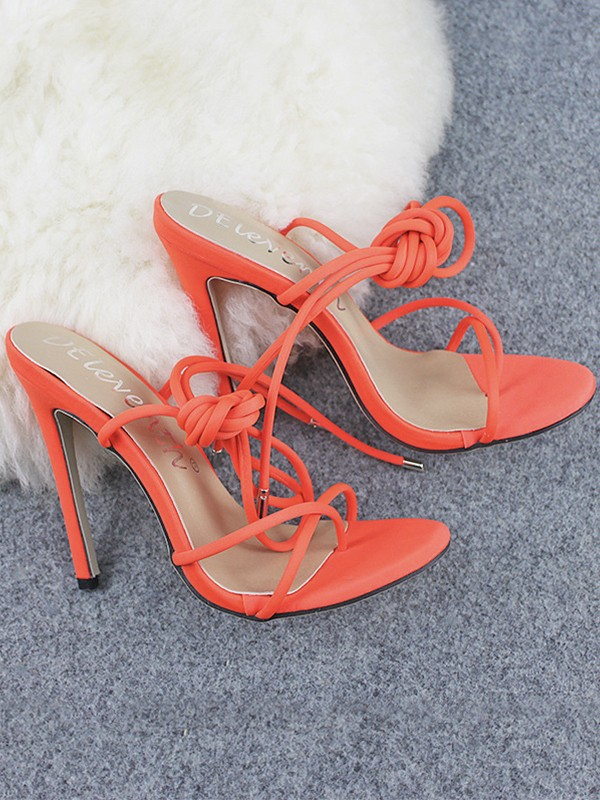 Women's Microfiber Peep Toe Stiletto Heel With Lace Up Sandals