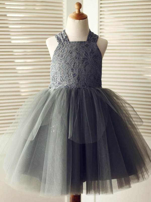 Grey Tulle Straps A-Line/Princess Knee-Length Flower Girl Dresses