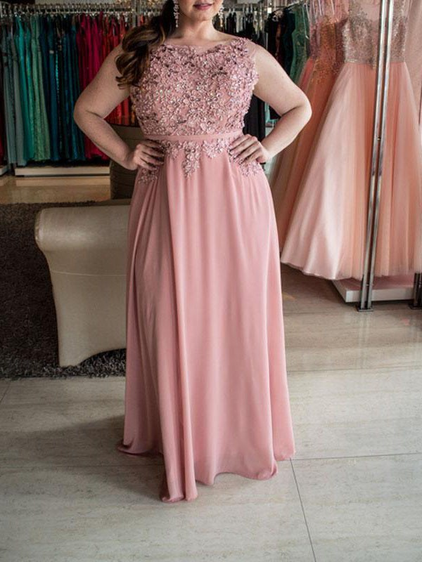 Pink Chiffon Bateau A-Line/Princess Floor-Length Plus Size Dresses