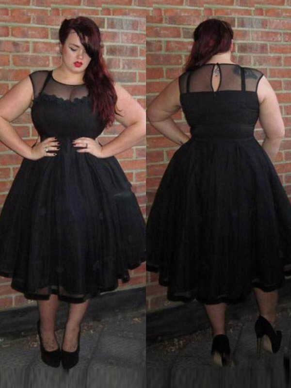Black Tulle Scoop A-Line/Princess Ankle-Length Plus Size Dresses