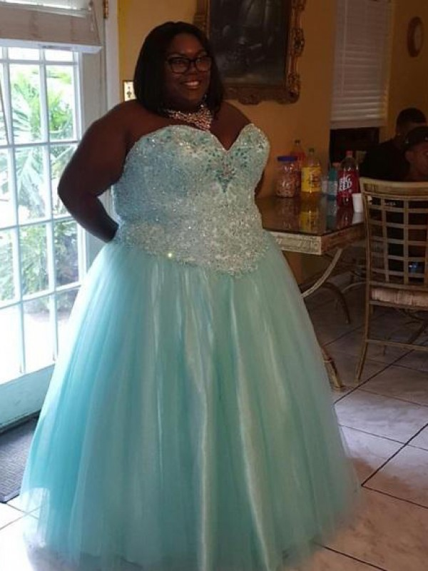 Light Sky Blue Organza Sweetheart Ball Gown Floor-Length Plus Size Dresses