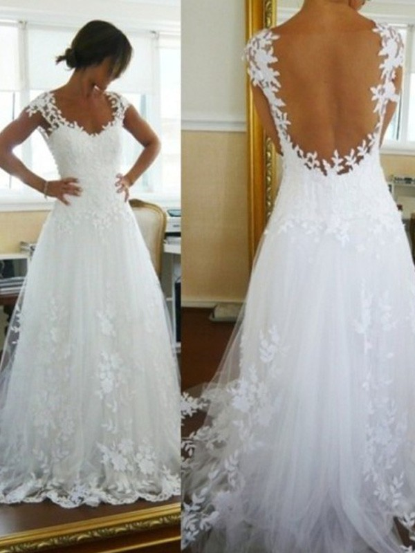 Ivory Tulle V-neck A-Line/Princess Sweep/Brush Train Wedding Dresses