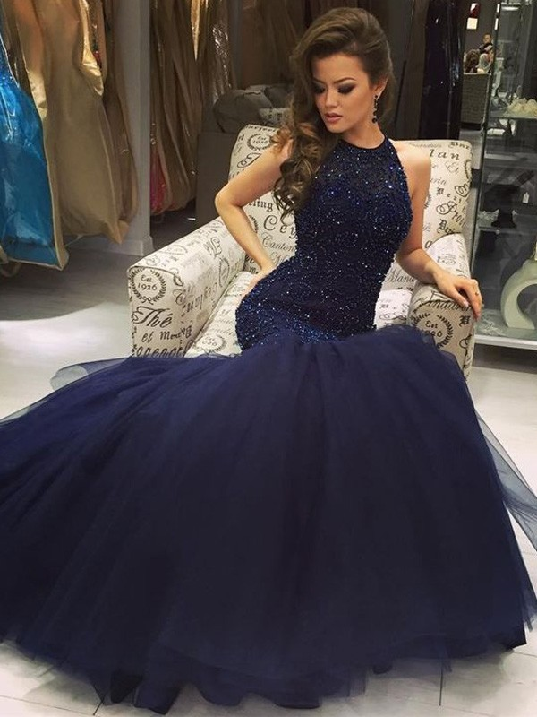 Dark Navy Tulle Jewel Trumpet/Mermaid Floor-Length Prom Dresses