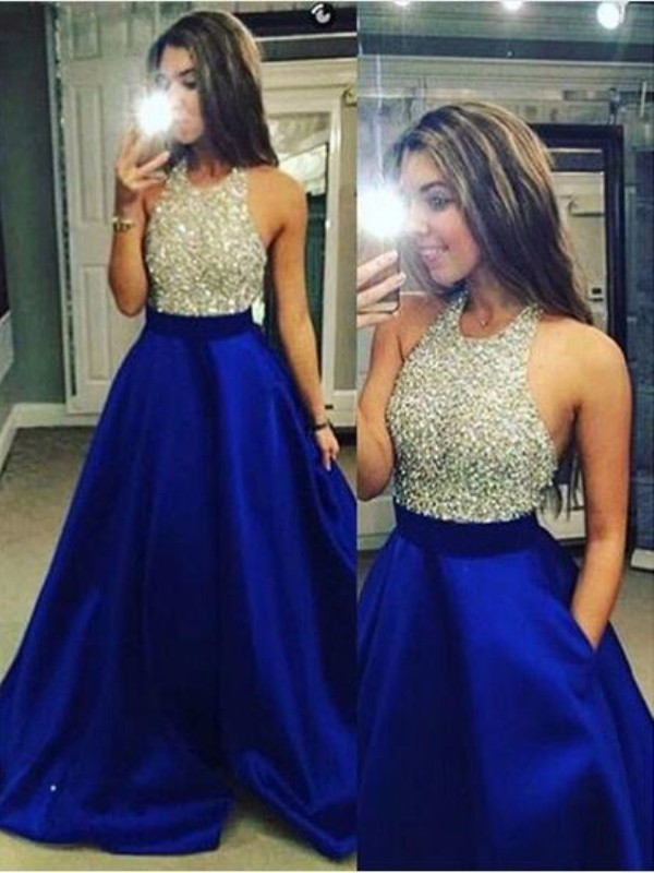 Royal Blue Satin Jewel Ball Gown Floor-Length Prom Dresses