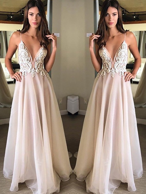 White Chiffon Spaghetti Straps A-Line/Princess Sweep/Brush Train Dresses
