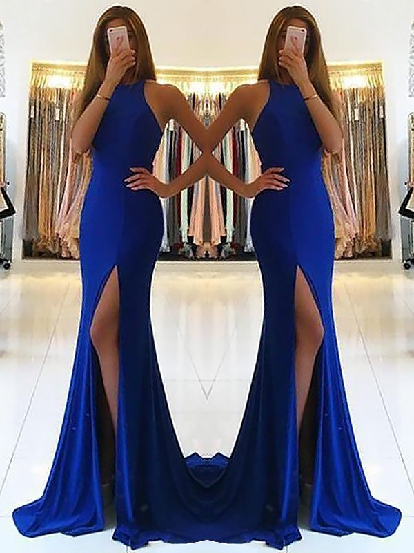 Royal Blue Elastic Woven Satin Halter Sheath/Column Sweep/Brush Train Dresses
