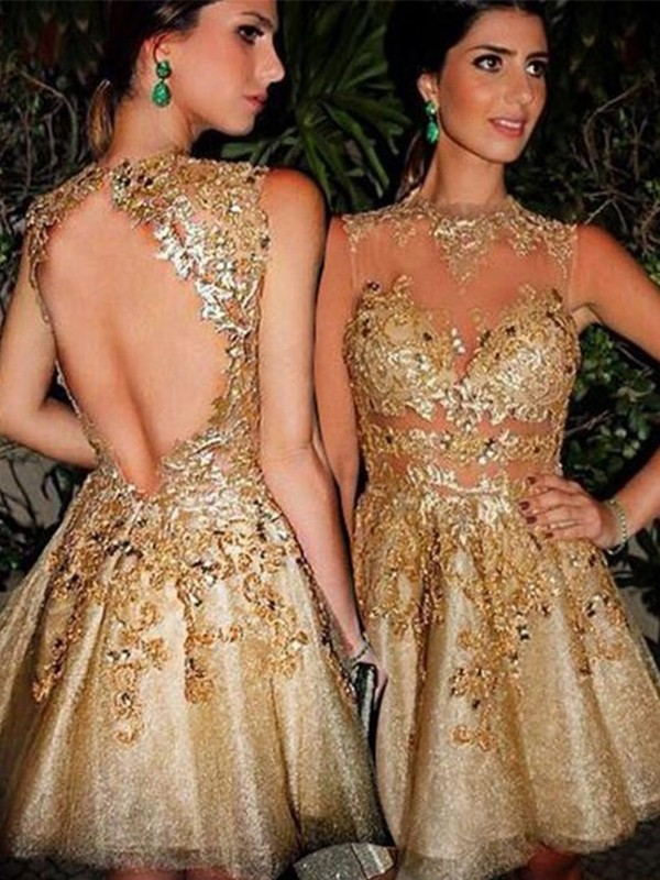 Gold Tulle Bateau A-Line/Princess Short/Mini Dresses