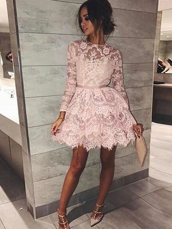 Pink Lace Bateau A-Line/Princess Short/Mini Dresses