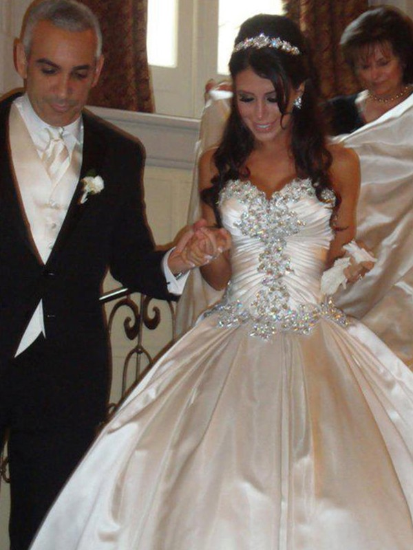 Champagne Satin Sweetheart Ball Gown Cathedral Train Wedding Dresses