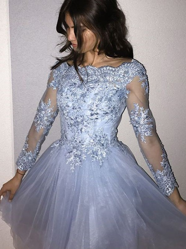 Light Sky Blue Tulle Off-the-Shoulder A-Line/Princess Short/Mini Dresses
