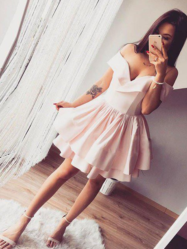 Pink Satin Off-the-Shoulder A-Line/Princess Short/Mini Dresses