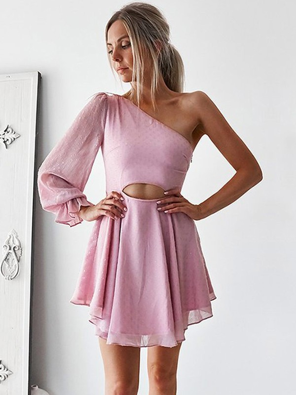 Pink Chiffon One-Shoulder A-Line/Princess Short/Mini Dresses