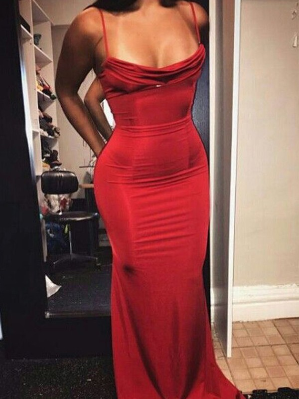 Red Spandex Spaghetti Straps Sheath/Column Floor-Length Dresses