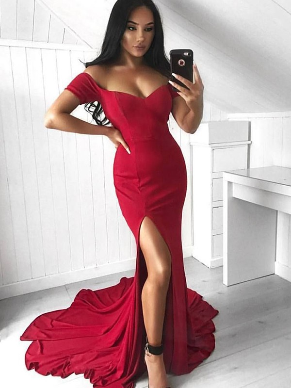 Red Spandex Off-the-Shoulder Trumpet/Mermaid Court Train Dresses