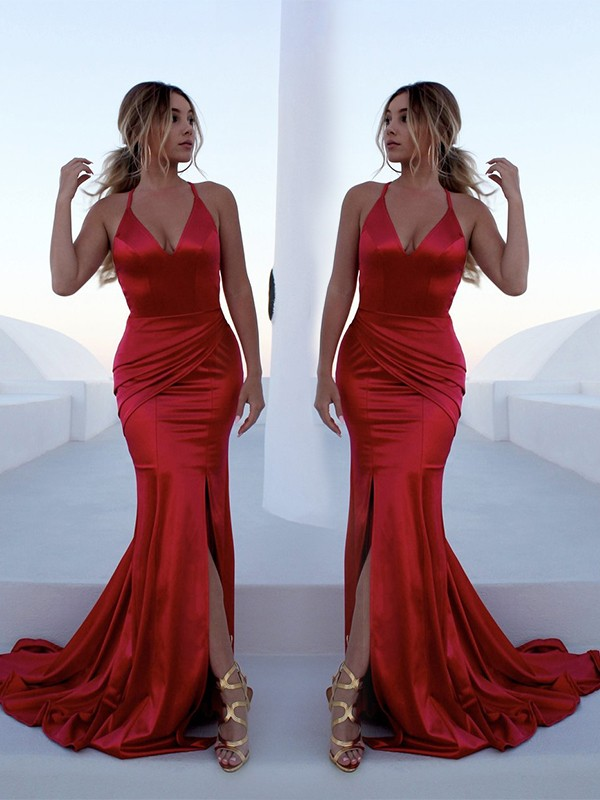 Red Elastic Woven Satin Halter Trumpet/Mermaid Sweep/Brush Train Dresses