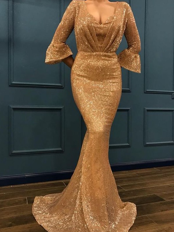Gold Sequins V-neck Trumpet/Mermaid Sweep/Brush Train Dresses