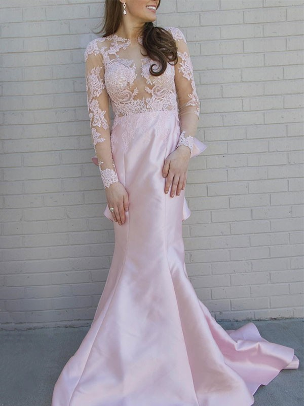 Pearl Pink Satin Scoop Trumpet/Mermaid Sweep/Brush Train Dresses