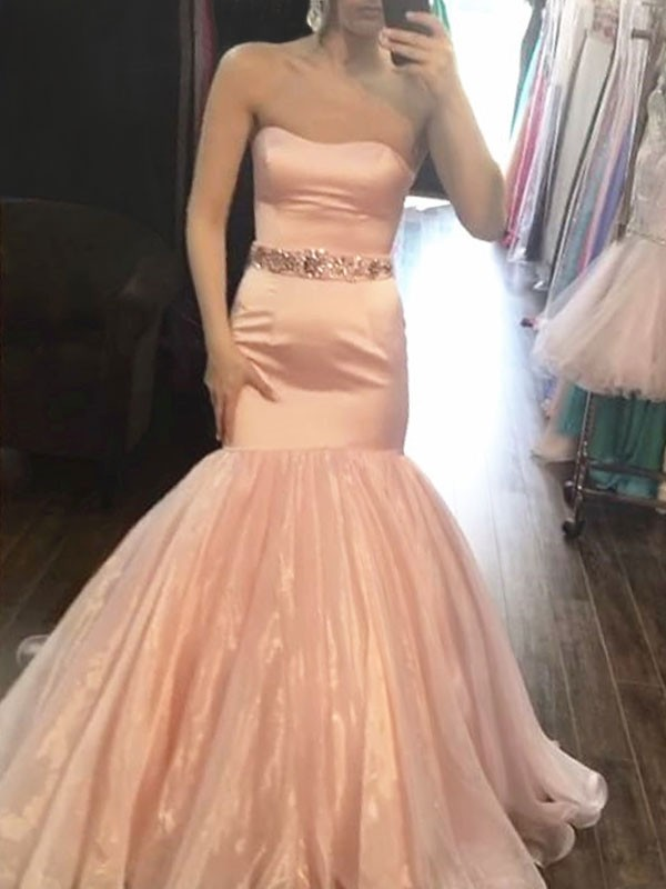 Pink Satin Strapless Trumpet/Mermaid Sweep/Brush Train Dresses
