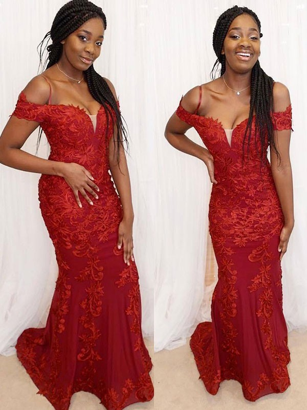 Red Lace Off-the-Shoulder Sheath/Column Floor-Length Dresses