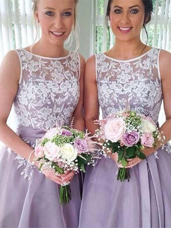 Lilac Organza Sheer Neck A-Line/Princess Knee-Length Bridesmaid Dresses